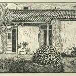 ΤΟ ΣΠΙΤΙ ΤΟΥ ΚΑΛΛΙΤΕΧΝΗ  Ξυλογραφία, 28 x 46 εκ., 1958