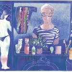 Ο ΖΩΓΡΑΦΟΣ ΚΑΙ ΤΟ ΜΟΝΤΕΛΟ Έγχρωμη λιθογραφία, 47 x 54,5 εκ., 1983