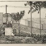 ΑΘΗΝΑΪΚΗ ΑΥΛΗ  Ξυλογραφία, 24,5 x 40,5 εκ., 1958