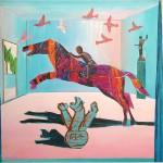 ΤΟ ΠΑΙΔΙ ΚΑΙ ΤΟ ΑΛΟΓΟ Ακρυλικό σε μουσαμά, 160 x 160 εκ., 1992