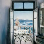 ΠΑΡΑΘΥΡΟ ΜΕ ΘΕΑ Μικτή τεχνική σε πλέξιγκλας, 165 x 120 εκ., 1997