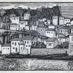 ΚΟΡΩΝΗ  Ξυλογραφία, 35,5 x 52 εκ., 1958