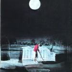 ΝΥΧΤΑ ΣΤΗΝ ΑΚΡΟΠΟΛΗ  Μικτή τεχνική σε μουσαμά, 180 x 150 εκ., 1972