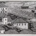 ΛΙΜΑΝΙ ΤΗΣ ΚΟΡΩΝΗΣ  Ξυλογραφία, 26,5 x 42 εκ., 1957