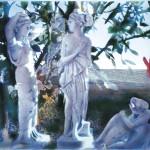 Ο ΚΗΠΟΣ ΜΕ ΤΑ ΑΓΑΛΜΑΤΑ Νο3  Μικτή τεχνική σε πλέξιγκλας, 50  x 78 εκ., 2002