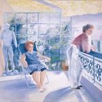 ΓΥΝΑΙΚΕΣ ΣΤΗ ΒΕΡΑΝΤΑ  Ακρυλικό σε μουσαμά, 150 x 150 εκ., 1983
