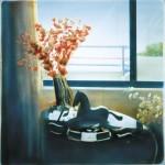 ΑΛΟΓΑΚΙ ΣΤΟ ΦΩΣ Μικτή τεχνική σε πλέξιγκλας, 78  x 78 εκ., 2002