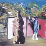 ΣΚΗΝΗ ΣΤΗΝ ΟΛΥΜΠΙΑ Ακρυλικό σε μουσαμά, 140 x 180 εκ., 1993