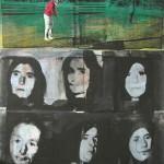 ΜΑΝΑΔΕΣ ΣΤΑ ΜΑΥΡΑ Μικτή τεχνική σε μουσαμά, 180 x 150 εκ., 1972