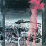ΓΥΝΑΙΚΑ ΣΤΟ ΠΑΡΑΘΥΡΟ Μικτή τεχνική σε μουσαμά, 180 x 150 εκ., 1973