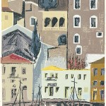 ΥΔΡΑ  Έγχρωμη ξυλογραφία, 46,5 x 30 εκ., 1959