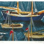 ΥΔΡΑ - ΚΑΪΚΙΑ  Έγχρωμη ξυλογραφία, 18 x 25,5 εκ., 1959