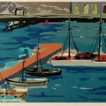 ΥΔΡΑ Ο ΜΩΛΟΣ  Έγχρωμη ξυλογραφία, 25 x 40 εκ., 1960