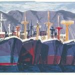 ΔΕΜΕΝΑ ΚΑΡΑΒΙΑ  Έγχρωμη ξυλογραφία, 34 x 55 εκ., 1959