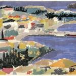 ΠΥΛΟΣ  Έγχρωμη ξυλογραφία, 25,5 x 44 εκ., 1960