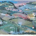 ΜΕΣΣΗΝΙΑΚΟ ΤΟΠΙΟ  Έγχρωμη ξυλογραφία, 34 x 43 εκ., 1961