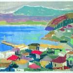 ΠΥΛΟΣ  Έγχρωμη ξυλογραφία, 32 x 42,5 εκ., 1960