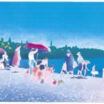 ΑΚΡΟΓΙΑΛΙ Έγχρωμη λιθογραφία, 30 x 57 εκ., 1983