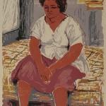 ΚΑΘΙΣΤΗ ΓΥΝΑΙΚΑ Έγχρωμη ξυλογραφία, 50 x 32 εκ., 1960