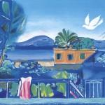 ΣΠΙΤΙ ΣΤΗΝ ΑΙΓΙΝΑ Έγχρωμη λιθογραφία, 48 x 60 εκ., 1985