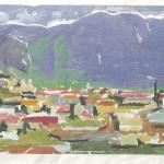 ΚΑΛΑΜΑΤΑ  Έγχρωμη ξυλογραφία, 26,5 x 56,5 εκ., 1961