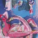 ΛΗΔΑ ΚΑΙ ΚΥΚΝΟΣ Ξυλογραφία, 47 x 32 εκ., 1998