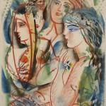 ΤΡΕΙΣ ΚΟΠΕΛΕΣ Λάδι σε μουσαμά, 70 x 53 εκ., 2006