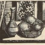 ΠΑΝΕΡΙ ΜΕ ΦΡΟΥΤΑ  Ξυλογραφία, 36 x 43 εκ., 1959